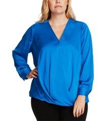 vince camuto plus size wrap-front blouse