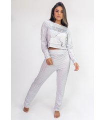 pijama cropped de manga longa e calã§a estampa digital (polar bear) - ref: k2816 - multicolorido - feminino - dafiti
