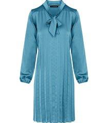 zijde plisse jurk turquoise