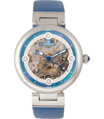 empress adelaide automatic blue leather watch 38mm