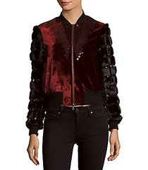 sequined velvet & faux fur jacket
