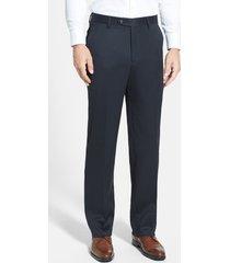 men's berle flat front classic fit wool gabardine dress pants, size 36 x - blue