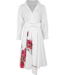 white large daisy asymmetrical wrap dress