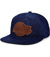 mitchell & ness los angeles lakers denim patch work snapback cap