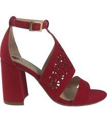 sandalia tacón mediano rojo wanted