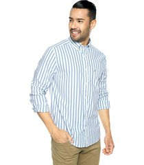 camisa azul-blanco-aguamarina nautica