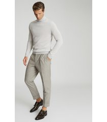 reiss sliced - tapered fit pinstripe trousers in oatmeal, mens, size 38