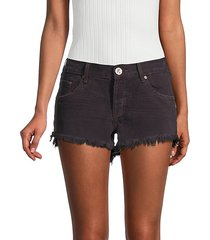 bonitas low-rise fringe hem denim shorts