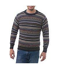men's 100% alpaca sweater, 'professor' (peru)