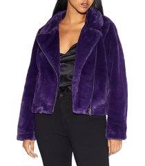 apparis women's tukio faux fur biker jacket - violet - size m