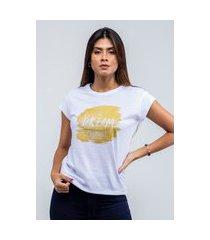 t-shirt feminina blusa estampada edius dream branco