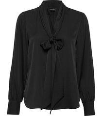 satin stretch - marley blouse lange mouwen zwart sand