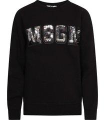 msgm black sweathsirt with rhinestoned logo for girl