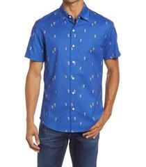 men's bonobos riviera slim fit short sleeve button-up shirt, size large - blue