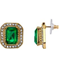 2028 gold-tone green stone and crystal octagon button earrings