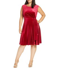 plus size women's tahari stretch velvet fit & flare dress