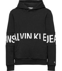 stretch logo hoodie hoodie trui zwart calvin klein