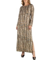 24seven comfort apparel snake print long sleeve side slit plus size maxi dress