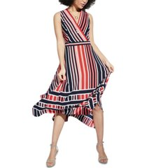 karl lagerfeld paris striped handkerchief-hem midi dress