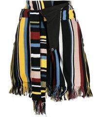 ambush fringed striped shorts - black