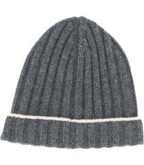 brunello cucinelli ribbed knit beanie - grey