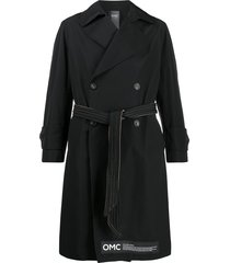 omc slim-fit belted trench coat - black