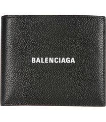 balenciaga grain leather logo wallet