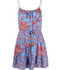 alice+olivia cheyla strappy floral-print dress - blue