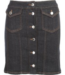 love moschino denim skirt w/buttons in front