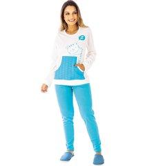 pijama de inverno feminino kanguru legging victory - azul - feminino - dafiti