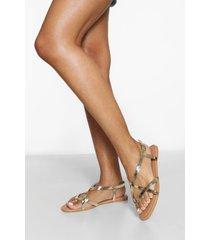 brede basic sandalen met teenstop, gold