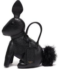 fur pom pom pebble grain leather rabbit bag with knit sweater