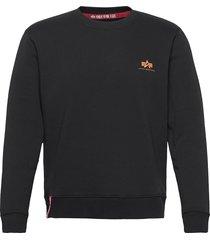 basic sweater small logo neon print stickad tröja m. rund krage svart alpha industries