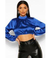 satijnen korte blouse met hoge kraag en ballonmouwen, kobalt