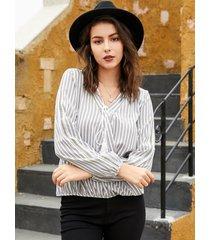 yoins blusa gris de manga larga con cuello de pico a rayas ajustables