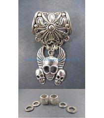 us seller-scarf slides triple skull pendant slider scarf ring
