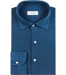 camicia da uomo su misura, maglificio maggia, denim piquet cotone, quattro stagioni | lanieri