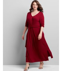 lane bryant women's ribbed tie-front midi dress 14/16 pomegranate