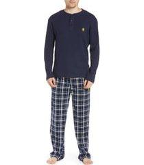 men's majestic international take it outside 2-piece pajamas, size x-large - blue