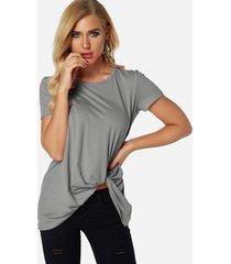 gris plisado diseño redondo cuello camisetas de manga corta
