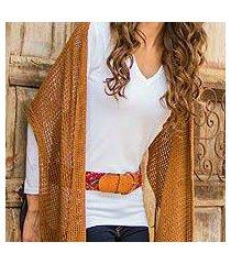 cotton scarf, 'honey lattice' (guatemala)