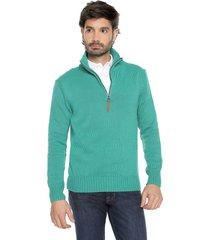 sweater verde 23 preppy m/l c/alto 1/2 cremallera tejido medio
