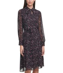 karl lagerfeld printed tie-front dress