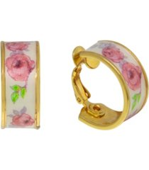2028 gold-tone floral clip hoop earrings