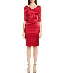 women's talbot runhof stretch duchess satin sheath dress
