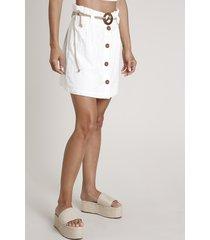saia feminina curta clochard em laise com cinto cordão off white