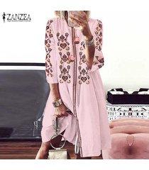 zanzea mujeres llamarada longitud de la rodilla oscilación floral bohemio partido del club del vestido vestido de tirantes -rosado