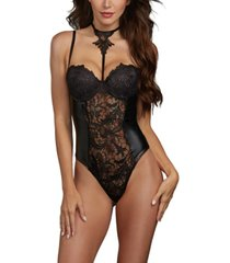 dreamgirl women's venise lace and stretch faux leather teddy with attached venise detail collar