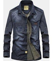 giacca manica lunga multifunzionale in cotone morbido per uomo