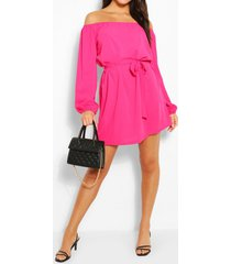 off shoulder belted shift dress, hot pink
